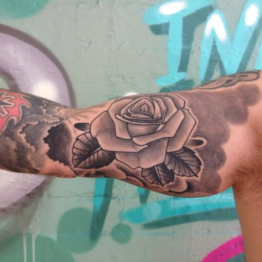 Bicep Rose Tattoo by earlofpigment