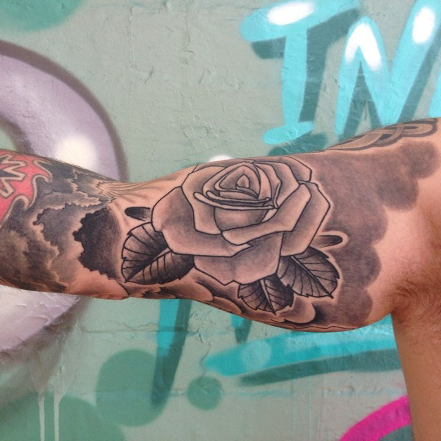 Bicep Rose Tattoo by earlofpigment