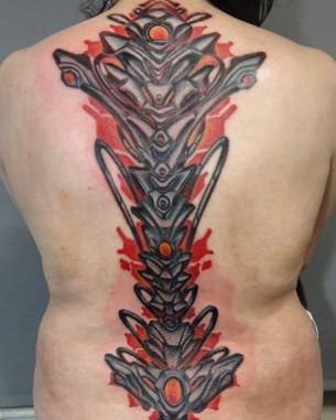 Biomechanical Spine Tattoo