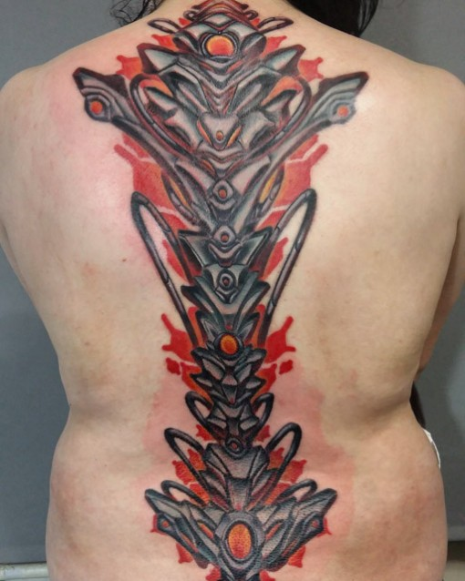 Biomechanical Spine Tattoo