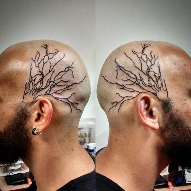 Black Veins Tattoo on Head