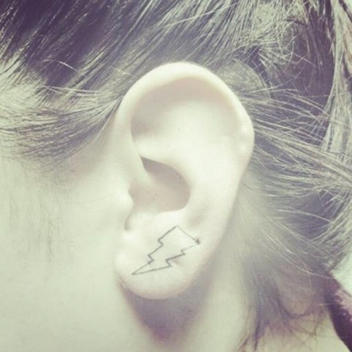 Bowie Tribute Tattoo on Ear at gaebynevergrowup