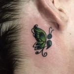 green Butterfly Tattoo Behind The Ear
