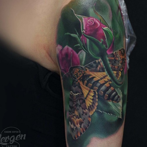 Shoulder Butterfly Tattoo Realistic Style