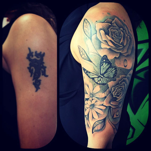 Butterfly and Roses Tattoo by Andrea Pinna