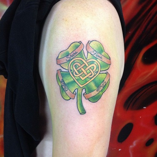 Celtic Heart Clover Tattoo