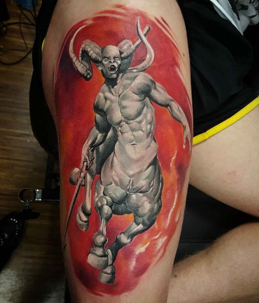 grey centaur tattoo on hip