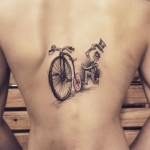 bicycle tattoo on back
