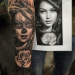 Chicano Portrait Tattoo Sleeve