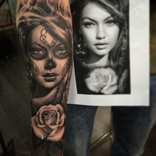 Chicano Portrait Tattoo Sleeve