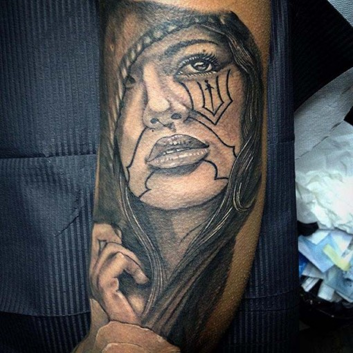 woman face tattoo Chicano
