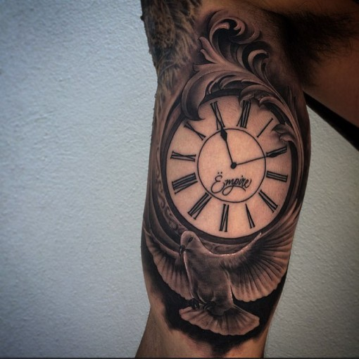Clock Arm Tattoo by quincymiketattoo