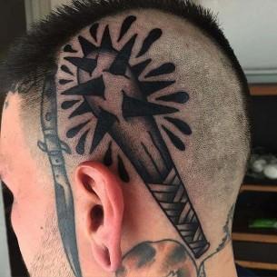 Club Tattoo on Head