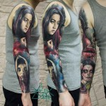Colorful Chicano Sleeve Tattoo