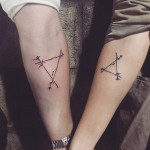 geometrical matching couple tattoos
