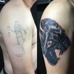 Cover Up Shoulder Panther Tattoo