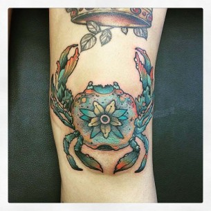 Crab Tattoo on The Knee