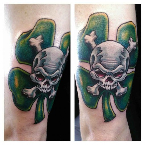 Crossed Bones Skull Cloever Tattoo