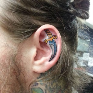 Dagger Ear Tattoo