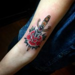 Dagger Rose Tattoo by verotattooine