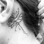 Daisy Tattoo Behind Ear