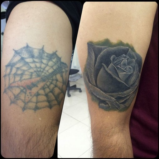 Dark Rose Tattoo Cover Up by Testa Tattoo