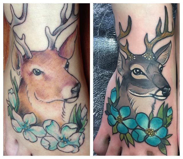 Deer Cover-Up Tattoo by Charlotte Timmons
