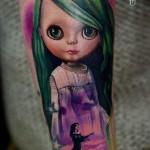 pink dress tattoo doll