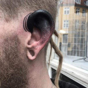 Dotwork Ear Tattoo