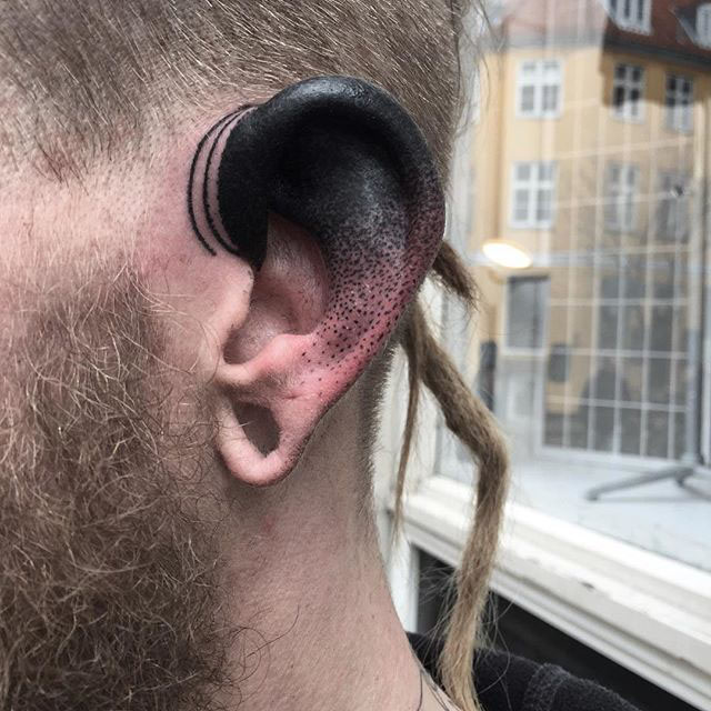 Dotwork Ear Tattoo by baxtattoo