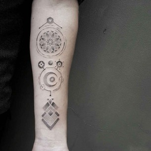 Dotwork Signs Tattoo on Forearm