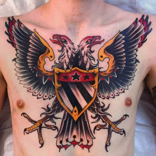 neo-traditional chest tattoo eagle with two heads