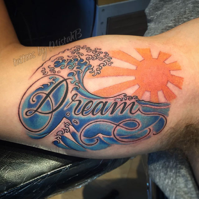 Dream Wave Tattoo on Bicep