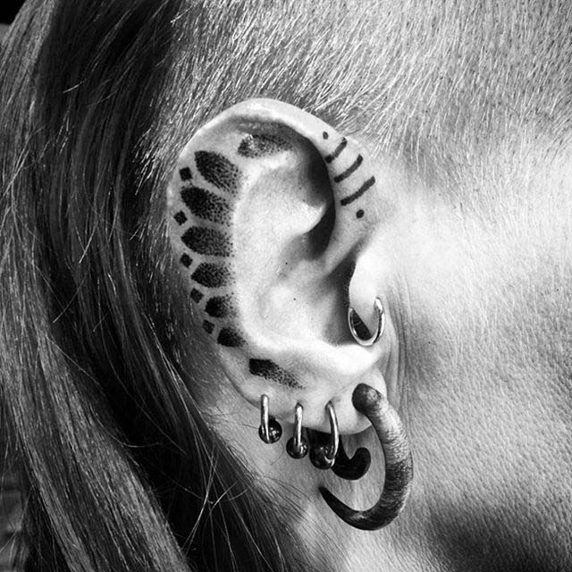 Ear Tattoo Dotwork by blackhandnomad