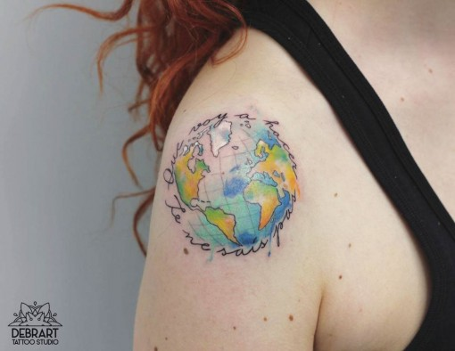 cute Earth tattoo on shoudler