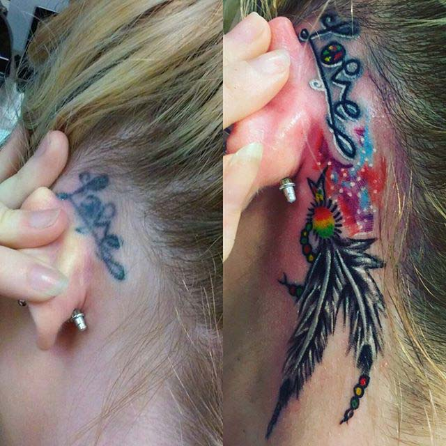 Feather Cover-Up Tattoo Behind Ear