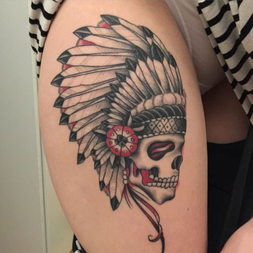 Feather Skull Indian Tattoo by jamesdavis713