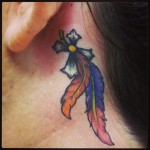 Feather and cross Tattoo Behind The Ear