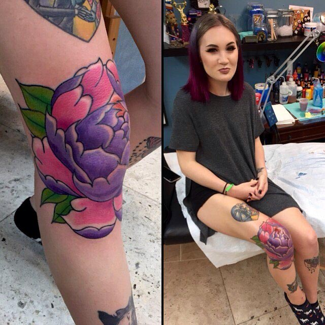 Female Knee Tattoo by Davey CXC