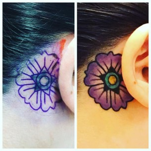Flower Behind Ear Tattoo