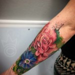 half sleeve floral tattoo watercolor