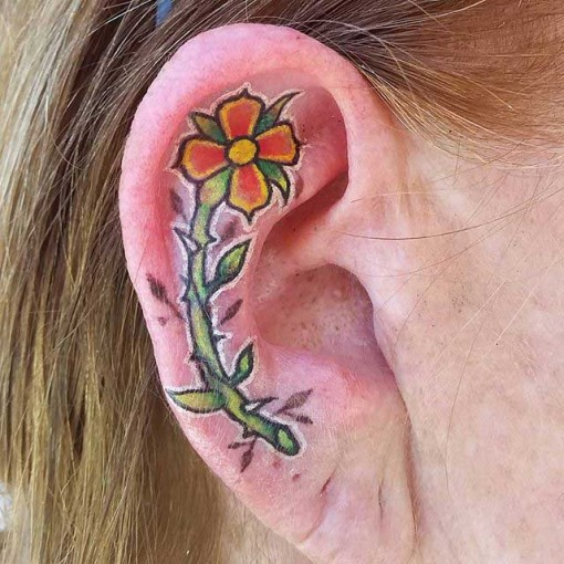 flower tattoo ear cartilage best tattoo ideas gallery. Black Bedroom Furniture Sets. Home Design Ideas