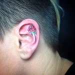 Flower Tattoo Inside Ear