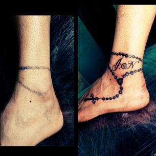 Foot Tattoo Cover Up Rosary