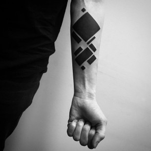 Forearm Blackwork Tattoo Geometry