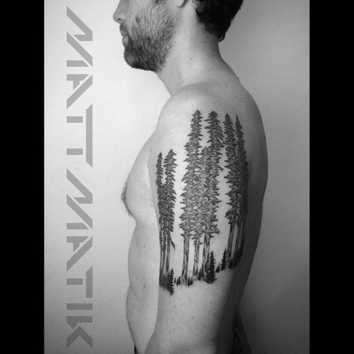 pine trees tattoo forest on shoulder