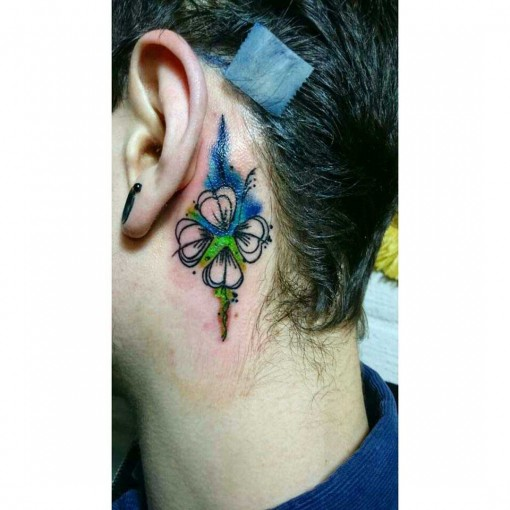 Four Leaf Clover Behind Ear