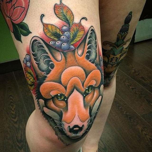 Fox Tattoo on The Knee by @tonyofglasgow