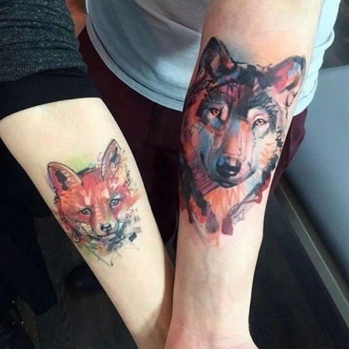 watercolor wolf and fox tattoo for couples
