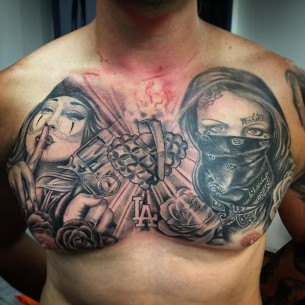 Gangster Chest Tattoo